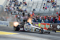 Sept. 28, 2012; Madison, IL, USA: NHRA top fuel dragster driver Shawn Langdon during qualifying for the Midwest Nationals at Gateway Motorsports Park. Mandatory Credit: Mark J. Rebilas-