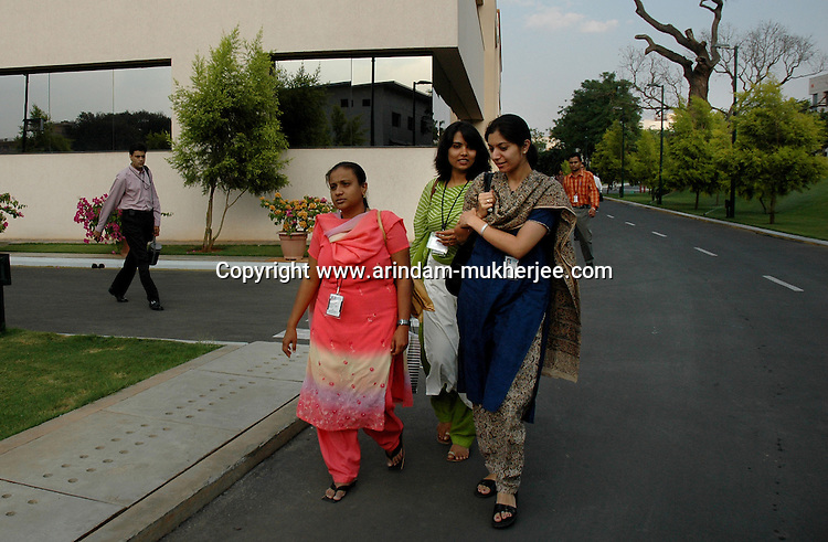 Indian software professionals at Infosys campus in Bangalore. Infosys is the largest software company in the country and the head office is in Bangalore, Karnataka, India. Arindam Mukherjee