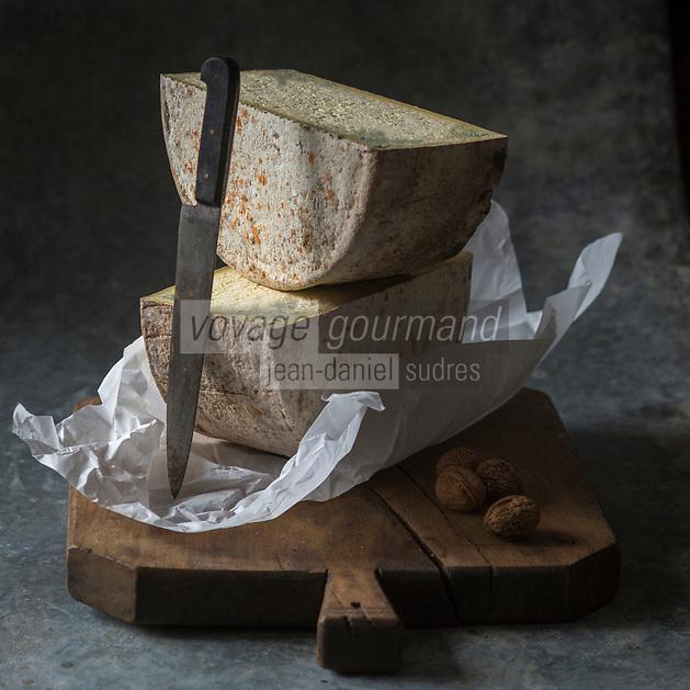 Europe, France, Rhône-Alpes (73), Savoie, Haute-Maurienne , Vanoise :   Bleu de Termignon, Stylisme : Valérie LHOMME  //  Europe, France, Rhône-Alpes, Savoie, Haute-Maurienne, Vanoise :  Bleu de Termignon cheese,  blue veined cheese