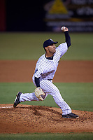 Tampa Yankees relief pitcher Nestor Cortes (19) delivers a pitch during a game against the Lakeland Flying Tigers on April 7, 2017 at George M. Steinbrenner Field in Tampa, Florida.  Lakeland defeated Tampa 5-0.  (Mike Janes/Four Seam Images)