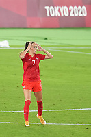 YOKOHAMA, JAPAN - AUGUST 6: Julia Grosso #7 of Canada celebrates during PK shootout during a game between Canada and Sweden at International Stadium Yokohama on August 6, 2021 in Yokohama, Japan.
