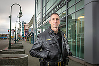 Anchorage Police Department Chief Justin Doll, outside APD headquarters in downtown Anchorage. Doll earned his Bachelor of Arts in Economics at UAA.