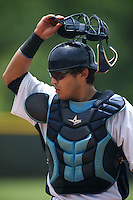 GCL Rays Armando Araiza #19 during a Gulf Coast League game against the GCL Twins at the Charlotte Sports Complex on July 19, 2012 in Port Charlotte, Florida.  GCL Twins defeated the GCL Astros 4-2.  (Mike Janes/Four Seam Images)