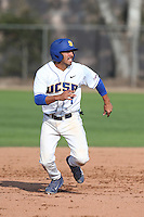 Peter Maris (1) of the UC Santa Barbara Gauchos runs the bases during a game against the Kentucky Wildcats at Caesar Uyesaka Stadium on March 20, 2015 in Santa Barbara, California. UC Santa Barbara defeated Kentucky, 10-3. (Larry Goren/Four Seam Images)