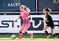 Ludmila Matavkova (9) of Sporting Charleroi pictured with Anke Vanhooren (7) of Eendracht Aalst during a female soccer game between Eendracht Aalst and Sporting Charleroi on the 18 th and last matchday before the play offs of the 2020 - 2021 season of Belgian Scooore Womens Super League , Saturday 27 th of March 2021  in Aalst , Belgium . PHOTO SPORTPIX.BE | SPP | DAVID CATRY