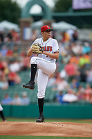 Indianapolis Indians pitcher Eduardo Vera (7) during an International League game against the Syracuse Mets on July 17, 2019 at Victory Field in Indianapolis, Indiana.  Syracuse defeated Indianapolis 15-5  (Mike Janes/Four Seam Images)
