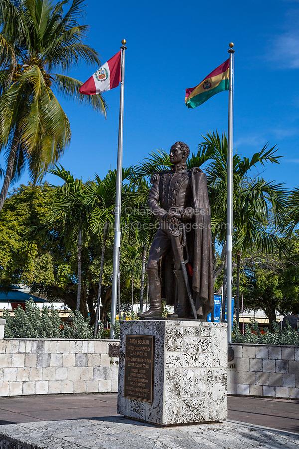 Miami, Florida.  Statue of Simon Bolivar, Biscayne Boulevard.