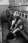 Snowdown Colliery, Snowdown Kent. Miners in locker room having just come off a shift.<br /> Albert Christian standing. <br /> Caption names thanks to Darran Cowd<br /> Museum & Heritage Manager, Betteshanger Sustainable Parks,