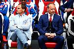 Nederland, Amsterdam, 19 april 2015<br /> Eredivisie<br /> Seizoen 2014-2015<br /> Ajax-NAC Breda (0-0)<br /> Frank de Boer, trainer-coach van Ajax en Dennis Bergkamp, assistent-coach van Ajax