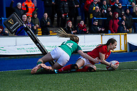 Jasmine Joyce of Wales scores her sides fourth try during the Women's Six Nations match between Wales and Ireland at Cardiff Arms Park, Cardiff, Wales, UK. Sunday 17 March 2019