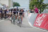 Thomas De Gendt (BEL/OmegaPharma-Quickstep) leading his teammates in the first half of the 250km race<br /> <br /> Belgian Championships 2014 - Wielsbeke<br /> Elite Men