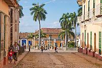 Cuba, Trinidad.  Street Scene Approaching Plaza Mayor.