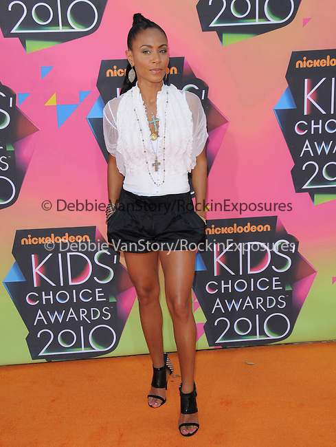 Jada Pinkett Smith at Nickelodeon's 23rd Annual Kids' Choice Awards held at Pauley Pavilion in Westwood, California on March 27,2010                                                                                      Copyright 2010 © DVS / RockinExposures