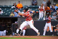 Aberdeen Ironbirds outfielder D.J. Stewart (10) at bat during a game against the Tri-City ValleyCats on August 6, 2015 at Ripken Stadium in Aberdeen, Maryland.  Tri-City defeated Aberdeen 5-0 in a combined no-hitter.  (Mike Janes/Four Seam Images)