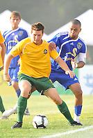 Luke Kreamalmeyer (yellow stl), Geison Moura,..AC St Louis and NSC Minnesota Stars played to a 2-2 tie at Anheuser-Busch Soccer Park, Fenton, Missouri.