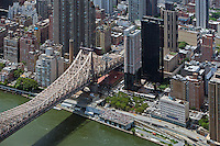 aerial photograph Queensborough bridge, FDR Drive, Manhattan, New York City, Animal Medical Center of New York at bottom right