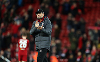 Liverpool manager Jurgen Klopp acknowledges the Anfield crowd as his side exit the Champions League <br /> <br /> Photographer Rich Linley/CameraSport<br /> <br /> UEFA Champions League Round of 16 Second Leg - Liverpool v Atletico Madrid - Wednesday 11th March 2020 - Anfield - Liverpool<br />  <br /> World Copyright © 2020 CameraSport. All rights reserved. 43 Linden Ave. Countesthorpe. Leicester. England. LE8 5PG - Tel: +44 (0) 116 277 4147 - admin@camerasport.com - www.camerasport.com