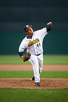 Burlington Bees relief pitcher Winston Lavendier (44) delivers a pitch during a game against the Bowling Green Hot Rods on May 7, 2016 at Community Field in Burlington, Iowa.  Bowling Green defeated Burlington 11-1.  (Mike Janes/Four Seam Images)