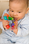 6 month old baby boy closeup vertical biting or mouthing colorful plastic toy Asian American Chinese