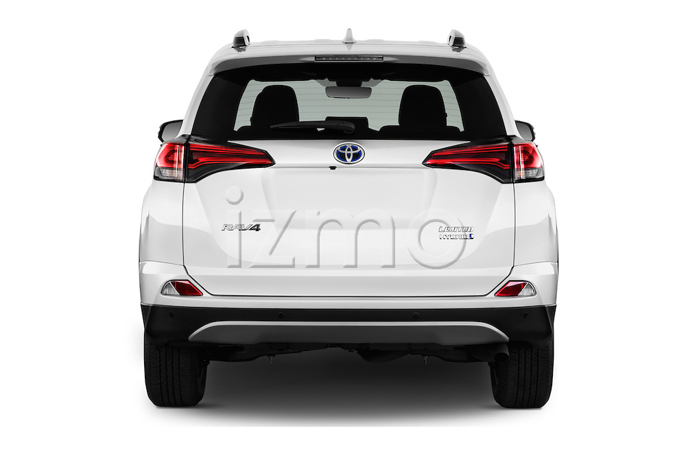 Straight rear view of 2018 Toyota RAV4 Hybrid-Limited-4x4 5 Door SUV Rear View  stock images