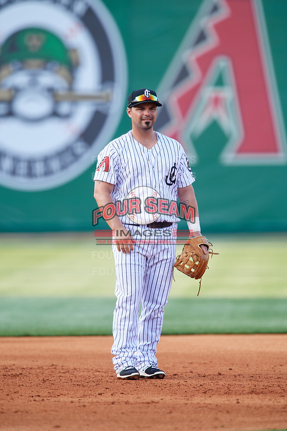 Jackson Generals third baseman Travis Denker (19) during a game against the Chattanooga Lookouts on April 29, 2017 at The Ballpark at Jackson in Jackson, Tennessee.  Jackson defeated Chattanooga 7-4.  (Mike Janes/Four Seam Images)