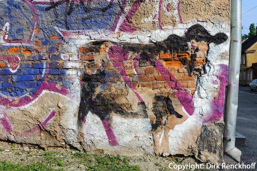 Wandbild in Tartu, Estland, Europa