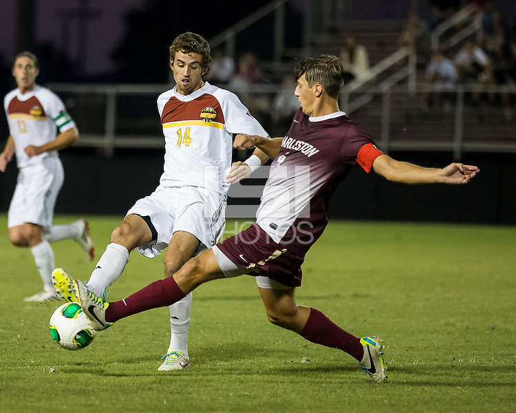 The Winthrop University Eagles played the College of Charleston Cougars at Eagles Field in Rock Hill, SC.  College of Charleston broke the 1-1 tie with a goal in the 88th minute to win 2-1.  Walker Johnson (14), Daan Brinkman (4)