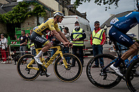 yellow jersey / GC leader Mathieu Van der Poel (NED/Alpecin-Fenix) passing through<br /> <br /> Stage 3 from Lorient to Pontivy (183km)<br /> 108th Tour de France 2021 (2.UWT)<br /> <br /> ©kramon