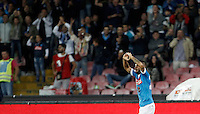 Calcio, Serie A: Napoli vs Juventus. Napoli, stadio San Paolo, 26 settembre 2015. <br /> Napoli's Lorenzo Insigne celebrates after scoring during the Italian Serie A football match between Napoli and Juventus at Naple's San Paolo stadium, 26 September 2015.<br /> UPDATE IMAGES PRESS/Isabella Bonotto