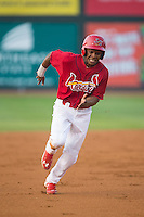 Magneuris Sierra (37) of the Johnson City Cardinals hustles towards third base against the Bristol Pirates at Howard Johnson Field at Cardinal Park on July 6, 2015 in Johnson City, Tennessee.  The Cardinals defeated the Pirates 8-2 in game two of a double-header. (Brian Westerholt/Four Seam Images)