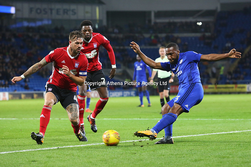 Junior Hoilett of Cardiff City is marked by Luke Chambers of Ipswich during the Sky Bet Championship match between Cardiff City and Ipswich Town at The Cardiff City Stadium, Cardiff, Wales, UK. Tuesday 31 October 2017