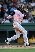 Designated hitter Kendrick Perkins (10) of the Greenville Drive in a game against the West Virginia Power on Sunday, May 11, 2014, at Fluor Field at the West End in Greenville, South Carolina. Greenville won, 9-6. (Tom Priddy/Four Seam Images)