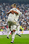 Real Madrid's Sergio Ramos (L) and Carlos Henrique Casemiro celebrate goal during La Liga match. September 01, 2018. (ALTERPHOTOS/A. Perez Meca)
