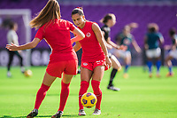 ORLANDO, FL - FEBRUARY 24: Jordyn Listro #21 of the CANWNT warming up before a game between Brazil and Canada at Exploria Stadium on February 24, 2021 in Orlando, Florida.