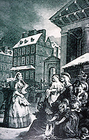 """London: Covent Garden--Hogarth. (Hogarth's engraving of Tom King's Coffee House early in the morning. It was """"little more than a brothel"""". Moll, Tom's wife, a model for Moll Flanders.)"""