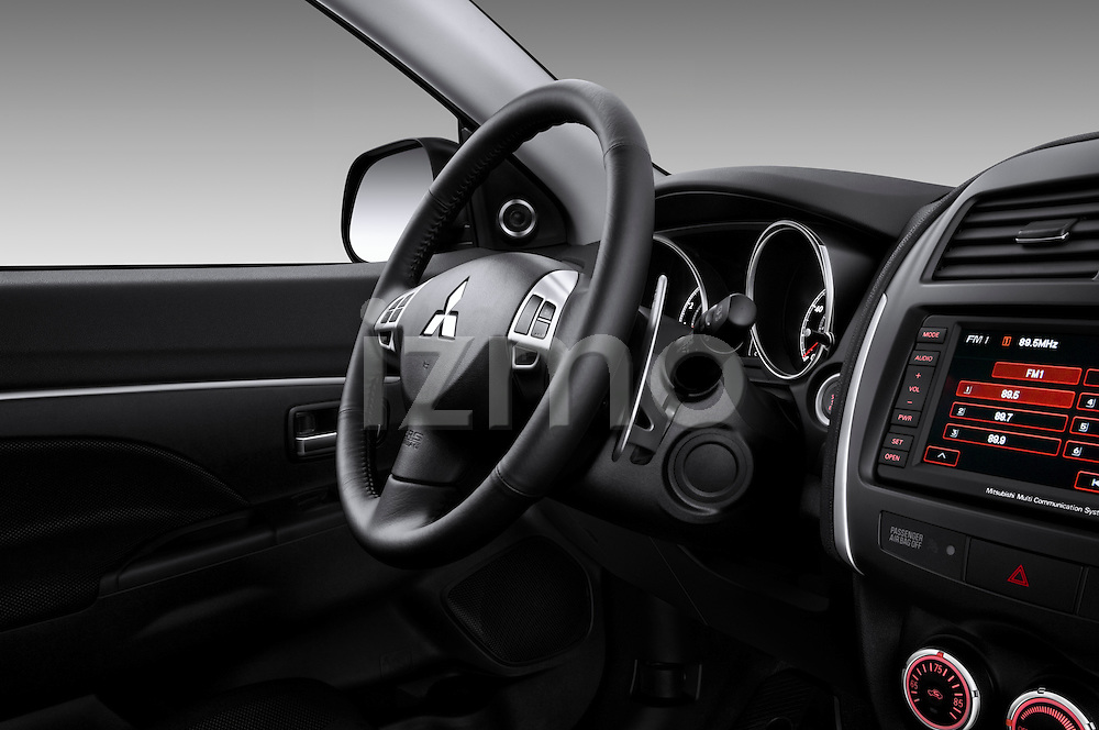 Steering wheel view of a 2012 Mitsubishi Outlander Sport
