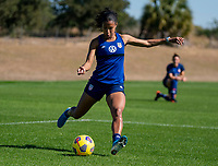 ORLANDO, FL - JANUARY 20: Margaret Purce #23 of the USWNT crosses the ball during a training session at the practice fields on January 20, 2021 in Orlando, Florida.