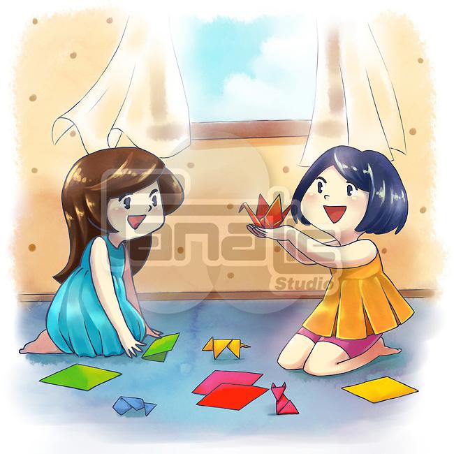 Illustration of girls making origami