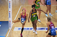Steel's George Fisher takes a pass under pressure during the ANZ Premiership netball match between Central Pulse and Southern Steel at Te Rauparaha Arena in Porirua, New Zealand on Sunday, 10 May 2021. Photo: Dave Lintott / lintottphoto.co.nz