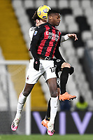 Luca Vignali of Spezia Calcio and Rafael Leao of AC Milan compete for the ball during the Serie A football match between Spezia Calcio and AC Milan at Spezia stadium in Spezia (Italy), February 13th, 2021. Photo Image Sport / Insidefoto