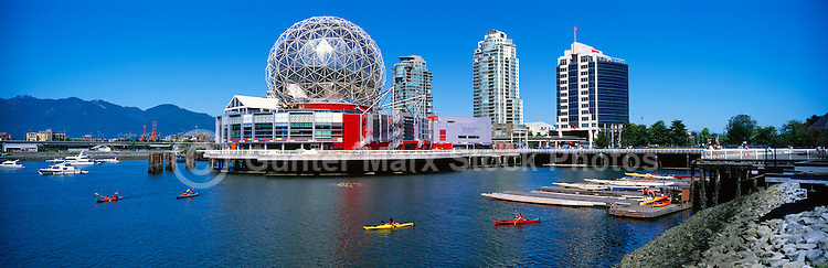 Telus World of Science (aka Science World) Citygate Residential Buildings, and Skyline at False Creek, Vancouver, BC, British Columbia, Canada - Renovation at Science World completed in 2012 - Panoramic View