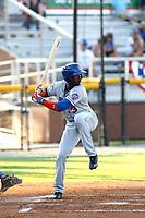 Kingsport Mets outfielder Ranfy Adon (3) at bat during a game against the Burlington Royals at Burlington Athletic Complex on July 28, 2018 in Burlington, North Carolina. Burlington defeated Kingsport 4-3. (Robert Gurganus/Four Seam Images)
