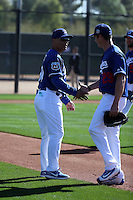 Dave Roberts, manager, greets Scott Kazmir- Los Angeles Dodgers 2016 spring training (Bill Mitchell)
