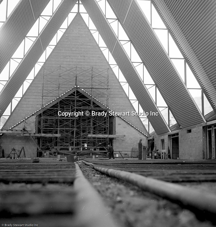 North Hills PA:  View of the construction of the St Sebastian Catholic Church on Siebert Road in the North Hills.  The parish was founded in 1952 and this permanent church was built in 1960.  You can view the church from McKnight road.