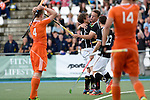 GER - Mannheim, Germany, May 25: During the U16 Boys match between The Netherlands (orange) and Germany (black) during the international witsun tournament on May 25, 2015 at Mannheimer HC in Mannheim, Germany. Final score 3-4 (1-2). (Photo by Dirk Markgraf / www.265-images.com) *** Local caption *** Ties Klinkhamer #4 of The Netherlands, Nicolas Kuehne #11 of Germany, Max Weiher #5 of Germany, Fedor Bock #23 of Germany