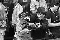- Great Britain, children play with army weapons during the  Tattoo Air Show at Greenham Common Air Force base<br /> <br /> - Gran Bretagna, bambini giocano con le armi dell'esercito durante la manifestazione Air Tattoo presso la base aerea militare di Greenham Common