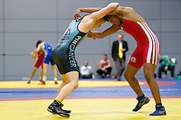 11 MAY 2014 - SHEFFIELD, GBR - Ryan Kay (left) and Bobby Singh (right) each attempt to take control during their freestyle match at the British 2014 Senior Wrestling Championships in EIS in Sheffield, Great Britain  (PHOTO COPYRIGHT © 2014 NIGEL FARROW, ALL RIGHTS RESERVED)