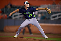 Vermont Lake Monsters pitcher Clark Cota (19) during a NY-Penn League game against the Aberdeen IronBirds on August 19, 2019 at Leidos Field at Ripken Stadium in Aberdeen, Maryland.  Aberdeen defeated Vermont 6-2.  (Mike Janes/Four Seam Images)