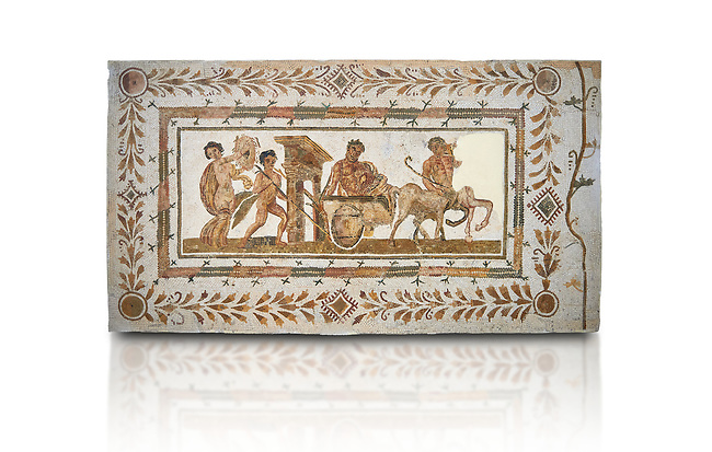 Picture of a Roman mosaics design depicting Dionysus drunk being transported on a chariot pulled by a centaur, they are followed by a Bacchante, follower of Bacchus, and a Satyr, from the ancient Roman city of Thysdrus. 3rd century AD House of Tertulla. El Djem Archaeological Museum, El Djem, Tunisia. Against a white background