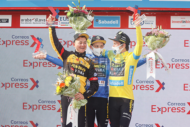 Jumbo-Visma win the team classification with Jonas Vingegaard (DEN) taking the young rider classification and Primoz Rolic (SLO) overall, points and mountains classifications at the end of Stage 6 of the Itzulia Basque Country 2021, running 111.9km from Ondarroa to Arrate, Spain. 10th April 2021.  <br /> Picture: Luis Angel Gomez/Photogomezsport | Cyclefile<br /> <br /> All photos usage must carry mandatory copyright credit (© Cyclefile | Luis Angel Gomez/Photogomezsport)